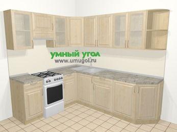 Угловая кухня из массива дерева в классическом стиле 6,6 м², 190 на 240 см, Светло-коричневые оттенки, верхние модули 72 см, отдельно стоящая плита