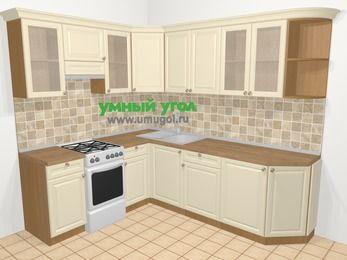 Угловая кухня из массива дерева в стиле кантри 6,6 м², 190 на 240 см, Бежевые оттенки, верхние модули 72 см, отдельно стоящая плита