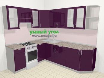 Угловая кухня МДФ глянец в современном стиле 6,6 м², 190 на 240 см, Баклажан, верхние модули 72 см, отдельно стоящая плита