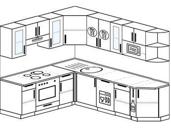 Угловая кухня 6,6 м² (1,9✕2,4 м), верхние модули 72 см, посудомоечная машина, модуль под свч, встроенный духовой шкаф