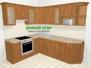 Угловая кухня МДФ матовый в классическом стиле 6,6 м², 190 на 240 см, Вишня, верхние модули 72 см, посудомоечная машина, модуль под свч, встроенный духовой шкаф