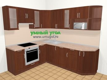 Угловая кухня МДФ матовый в классическом стиле 6,6 м², 190 на 240 см, Вишня темная, верхние модули 72 см, посудомоечная машина, модуль под свч, встроенный духовой шкаф