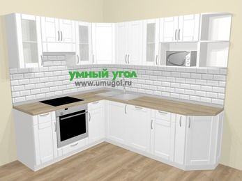 Угловая кухня МДФ матовый  в скандинавском стиле 6,6 м², 190 на 240 см, Белый, верхние модули 72 см, посудомоечная машина, модуль под свч, встроенный духовой шкаф