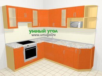 Угловая кухня МДФ металлик в современном стиле 6,6 м², 190 на 240 см, Оранжевый металлик, верхние модули 72 см, посудомоечная машина, модуль под свч, встроенный духовой шкаф