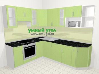 Угловая кухня МДФ металлик в современном стиле 6,6 м², 190 на 240 см, Салатовый металлик, верхние модули 72 см, посудомоечная машина, модуль под свч, встроенный духовой шкаф