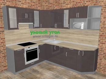 Угловая кухня МДФ глянец в стиле лофт 6,6 м², 190 на 240 см, Шоколад, верхние модули 72 см, посудомоечная машина, модуль под свч, встроенный духовой шкаф