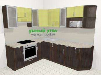 Кухни пластиковые угловые в современном стиле 6,6 м², 190 на 240 см, Желтый Галлион глянец / Дерево Мокка, верхние модули 72 см, посудомоечная машина, модуль под свч, встроенный духовой шкаф