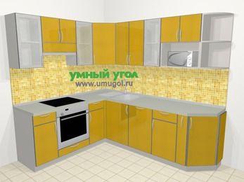 Кухни пластиковые угловые в современном стиле 6,6 м², 190 на 240 см, Желтый глянец, верхние модули 72 см, посудомоечная машина, модуль под свч, встроенный духовой шкаф