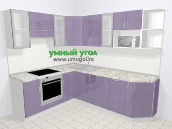 Кухни пластиковые угловые в современном стиле 6,6 м², 190 на 240 см, Сиреневый глянец, верхние модули 72 см, посудомоечная машина, модуль под свч, встроенный духовой шкаф
