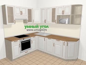 Угловая кухня МДФ патина в классическом стиле 6,6 м², 190 на 240 см, Лиственница белая, верхние модули 72 см, посудомоечная машина, модуль под свч, встроенный духовой шкаф