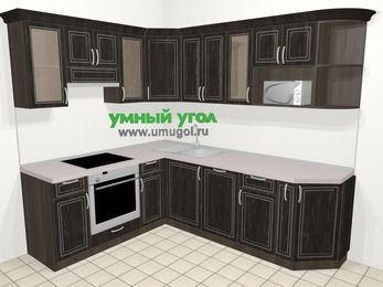 Угловая кухня МДФ патина в классическом стиле 6,6 м², 190 на 240 см, Венге, верхние модули 72 см, посудомоечная машина, модуль под свч, встроенный духовой шкаф