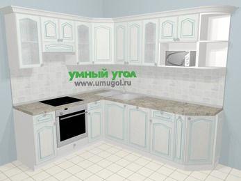 Угловая кухня МДФ патина в стиле прованс 6,6 м², 190 на 240 см, Лиственница белая, верхние модули 72 см, посудомоечная машина, модуль под свч, встроенный духовой шкаф