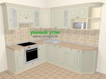 Угловая кухня МДФ патина в стиле прованс 6,6 м², 190 на 240 см, Керамик, верхние модули 72 см, посудомоечная машина, модуль под свч, встроенный духовой шкаф