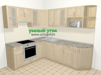 Угловая кухня из массива дерева в классическом стиле 6,6 м², 190 на 240 см, Светло-коричневые оттенки, верхние модули 72 см, посудомоечная машина, модуль под свч, встроенный духовой шкаф