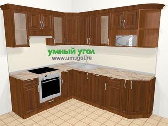 Угловая кухня из массива дерева в классическом стиле 6,6 м², 190 на 240 см, Темно-коричневые оттенки, верхние модули 72 см, посудомоечная машина, модуль под свч, встроенный духовой шкаф