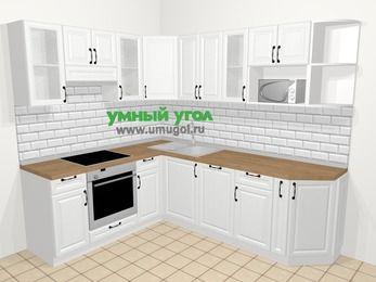 Угловая кухня из массива дерева в скандинавском стиле 6,6 м², 190 на 240 см, Белые оттенки, верхние модули 72 см, посудомоечная машина, модуль под свч, встроенный духовой шкаф