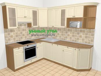 Угловая кухня из массива дерева в стиле кантри 6,6 м², 190 на 240 см, Бежевые оттенки, верхние модули 72 см, посудомоечная машина, модуль под свч, встроенный духовой шкаф