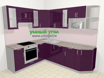 Угловая кухня МДФ глянец в современном стиле 6,6 м², 190 на 240 см, Баклажан, верхние модули 72 см, посудомоечная машина, модуль под свч, встроенный духовой шкаф