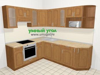 Угловая кухня МДФ патина в классическом стиле 6,6 м², 190 на 240 см, Ольха, верхние модули 72 см, посудомоечная машина, модуль под свч, встроенный духовой шкаф