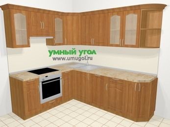 Угловая кухня МДФ матовый в классическом стиле 6,6 м², 190 на 240 см, Вишня, верхние модули 72 см, посудомоечная машина, встроенный духовой шкаф