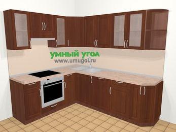 Угловая кухня МДФ матовый в классическом стиле 6,6 м², 190 на 240 см, Вишня темная, верхние модули 72 см, посудомоечная машина, встроенный духовой шкаф