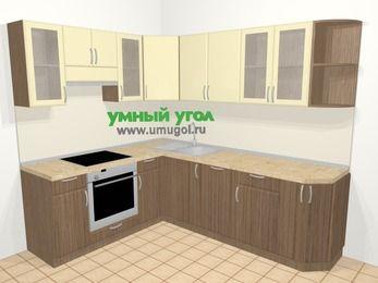 Угловая кухня МДФ матовый в современном стиле 6,6 м², 190 на 240 см, Ваниль / Лиственница бронзовая, верхние модули 72 см, посудомоечная машина, встроенный духовой шкаф