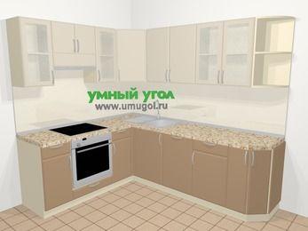 Угловая кухня МДФ матовый в современном стиле 6,6 м², 190 на 240 см, Керамик / Кофе, верхние модули 72 см, посудомоечная машина, встроенный духовой шкаф