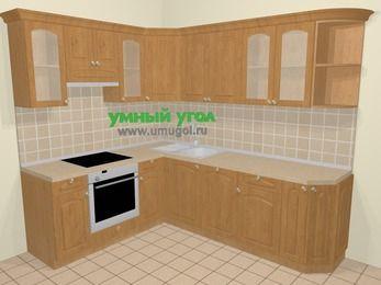 Угловая кухня МДФ матовый в стиле кантри 6,6 м², 190 на 240 см, Ольха, верхние модули 72 см, посудомоечная машина, встроенный духовой шкаф