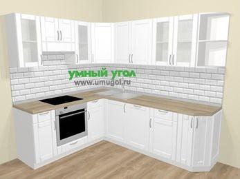 Угловая кухня МДФ матовый  в скандинавском стиле 6,6 м², 190 на 240 см, Белый, верхние модули 72 см, посудомоечная машина, встроенный духовой шкаф