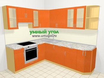 Угловая кухня МДФ металлик в современном стиле 6,6 м², 190 на 240 см, Оранжевый металлик, верхние модули 72 см, посудомоечная машина, встроенный духовой шкаф