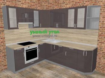 Угловая кухня МДФ глянец в стиле лофт 6,6 м², 190 на 240 см, Шоколад, верхние модули 72 см, посудомоечная машина, встроенный духовой шкаф