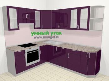 Угловая кухня МДФ глянец в современном стиле 6,6 м², 190 на 240 см, Баклажан, верхние модули 72 см, посудомоечная машина, встроенный духовой шкаф