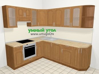 Угловая кухня МДФ патина в классическом стиле 6,6 м², 190 на 240 см, Ольха, верхние модули 72 см, посудомоечная машина, встроенный духовой шкаф
