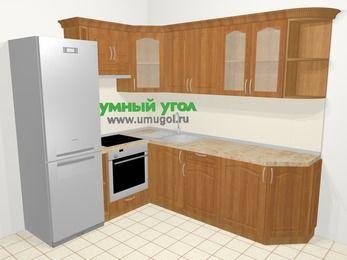 Угловая кухня МДФ матовый в классическом стиле 6,6 м², 190 на 240 см, Вишня, верхние модули 72 см, встроенный духовой шкаф, холодильник