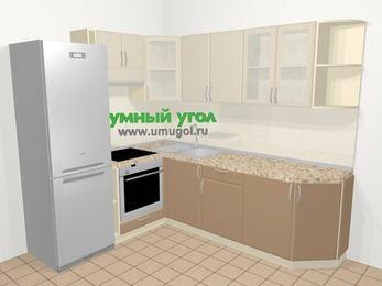 Угловая кухня МДФ матовый в современном стиле 6,6 м², 190 на 240 см, Керамик / Кофе, верхние модули 72 см, встроенный духовой шкаф, холодильник