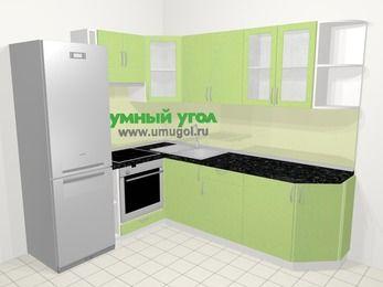 Угловая кухня МДФ металлик в современном стиле 6,6 м², 190 на 240 см, Салатовый металлик, верхние модули 72 см, встроенный духовой шкаф, холодильник