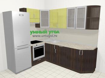 Кухни пластиковые угловые в современном стиле 6,6 м², 190 на 240 см, Желтый Галлион глянец / Дерево Мокка, верхние модули 72 см, встроенный духовой шкаф, холодильник