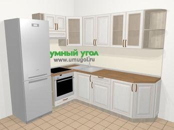 Угловая кухня МДФ патина в классическом стиле 6,6 м², 190 на 240 см, Лиственница белая, верхние модули 72 см, встроенный духовой шкаф, холодильник