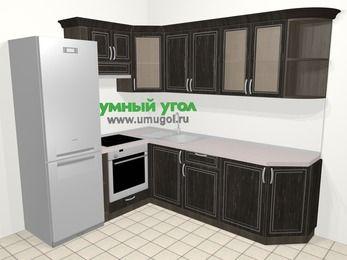 Угловая кухня МДФ патина в классическом стиле 6,6 м², 190 на 240 см, Венге, верхние модули 72 см, встроенный духовой шкаф, холодильник