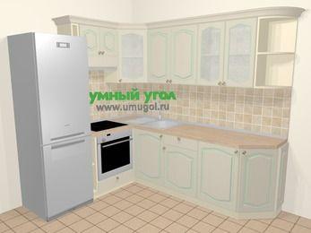 Угловая кухня МДФ патина в стиле прованс 6,6 м², 190 на 240 см, Керамик, верхние модули 72 см, встроенный духовой шкаф, холодильник
