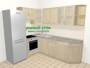 Угловая кухня из массива дерева в классическом стиле 6,6 м², 190 на 240 см, Светло-коричневые оттенки, верхние модули 72 см, встроенный духовой шкаф, холодильник