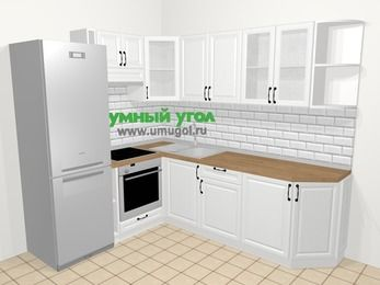 Угловая кухня из массива дерева в скандинавском стиле 6,6 м², 190 на 240 см, Белые оттенки, верхние модули 72 см, встроенный духовой шкаф, холодильник