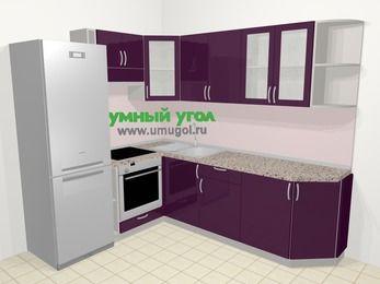Угловая кухня МДФ глянец в современном стиле 6,6 м², 190 на 240 см, Баклажан, верхние модули 72 см, встроенный духовой шкаф, холодильник