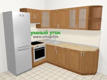 Угловая кухня МДФ патина в классическом стиле 6,6 м², 190 на 240 см, Ольха, верхние модули 72 см, встроенный духовой шкаф, холодильник