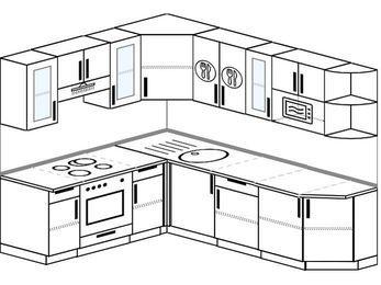 Угловая кухня 6,6 м² (1,9✕2,4 м), верхние модули 72 см, модуль под свч, встроенный духовой шкаф