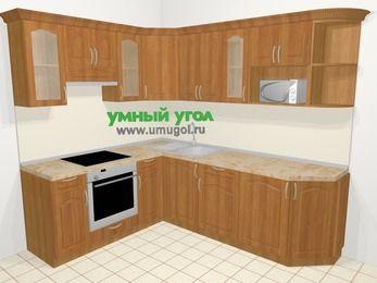 Угловая кухня МДФ матовый в классическом стиле 6,6 м², 190 на 240 см, Вишня, верхние модули 72 см, модуль под свч, встроенный духовой шкаф
