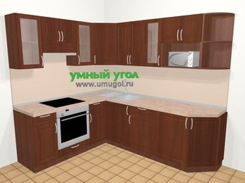 Угловая кухня МДФ матовый в классическом стиле 6,6 м², 190 на 240 см, Вишня темная, верхние модули 72 см, модуль под свч, встроенный духовой шкаф