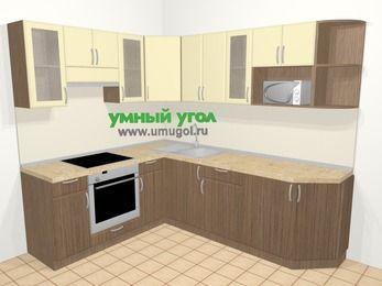 Угловая кухня МДФ матовый в современном стиле 6,6 м², 190 на 240 см, Ваниль / Лиственница бронзовая, верхние модули 72 см, модуль под свч, встроенный духовой шкаф
