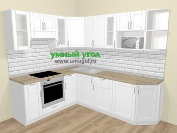 Угловая кухня МДФ матовый  в скандинавском стиле 6,6 м², 190 на 240 см, Белый, верхние модули 72 см, модуль под свч, встроенный духовой шкаф