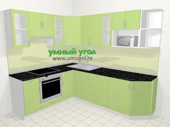 Угловая кухня МДФ металлик в современном стиле 6,6 м², 190 на 240 см, Салатовый металлик, верхние модули 72 см, модуль под свч, встроенный духовой шкаф